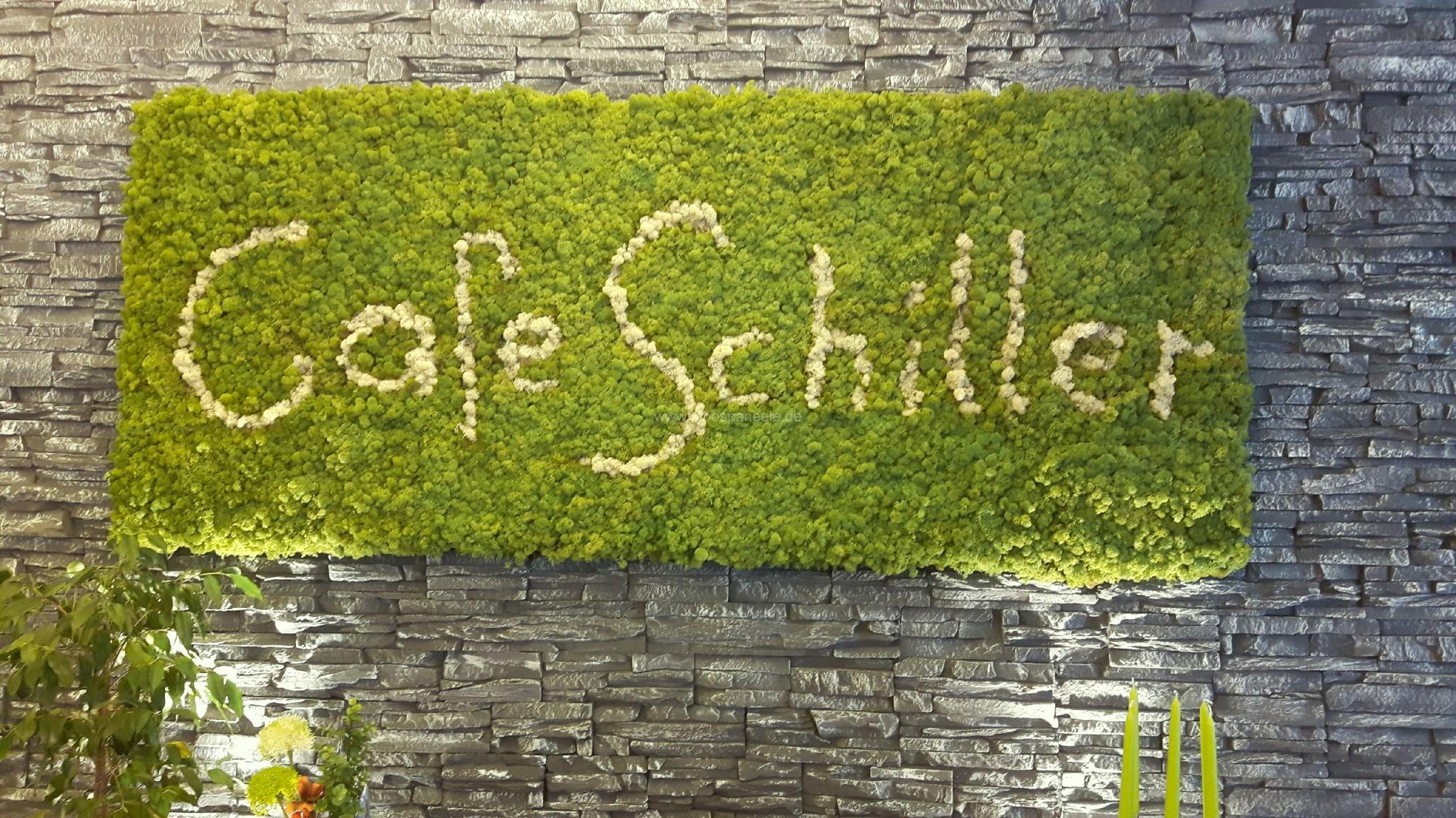 Moosbild mit Rentiermoos in der Farbe Mittelgrün und Schriftzug als Wandgestaltung im Restaurant Cafe Schiller in Traunstein